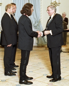 Geddy Lee receiving the Officer of the Order of Canada Medal